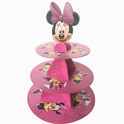 1 Set 3-tier Cupcake Stand Cupcake Wrappers Minnie Mouse Birthday Party Decor