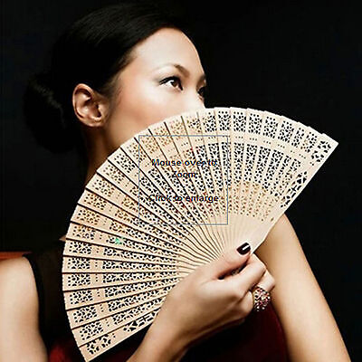 Chinese Bamboo Folding Hand Fan Wedding Party Flower Pattern Vintage Wooden Fans