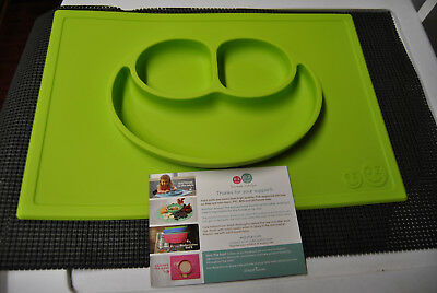 New ezpz Happy Mat Silicone Placemat With Built-In Plate Green In Sealed Bag