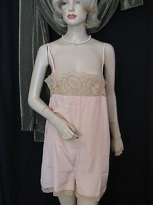 Vtg 1940s 30s Pink Silky Rayon Lingerie Romper with Ecru Lace & Applique,  38