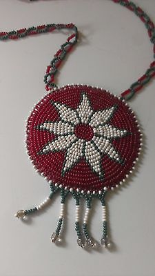 Vintage Mid Century Tribal Necklace Jewelry Beadwork Medallion Red Green African