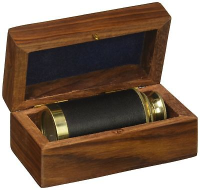 """6"""" Handheld Brass Telescope with Wooden Box - Pirate Navigation Clear Wooden ..."""