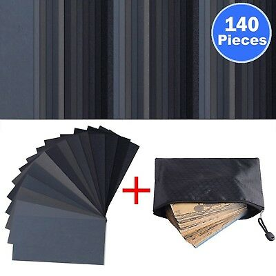 140 Pieces Sandpaper Assorted Wet/ Dry 120 to 3000 Grit Sandpaper Assortment ...