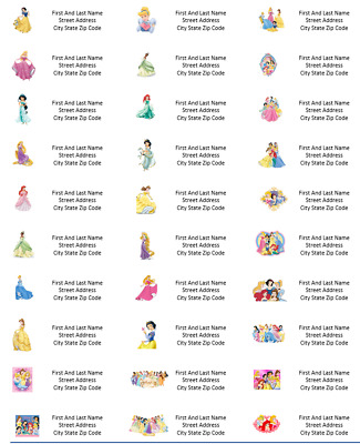 Disney Princess Belle Cinderella Aurora Return Address Labels - Personalized