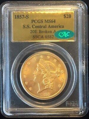 1857-S $20 Liberty PCGS MS64 CAC SS Central America Shipwreck Gold Double Eagle