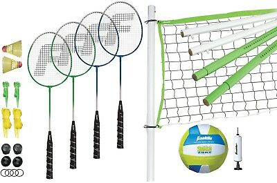 Franklin Sports Intermediate Badminton and Volleyball Combo Set