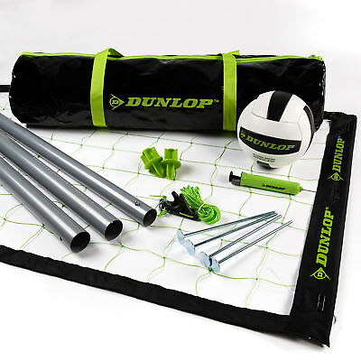 Dunlop Outdoor Sports Volleyball Set: Portable Net With Poles, Ball and Air - -