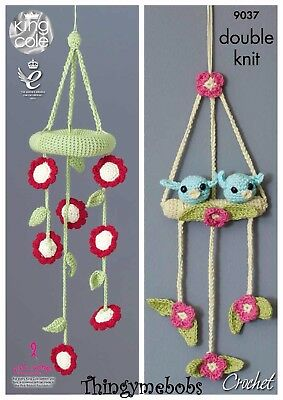 King Cole 9037 Flowers/birds Baby Mobiles Original Crochet Pattern - Dk