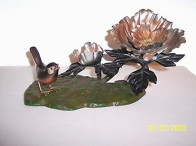 Bird and Flower Sculpture Figure Home Decor Art All Metal