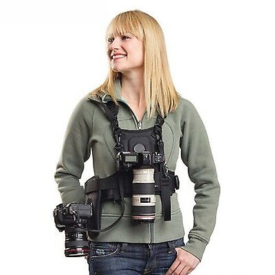 Photographer Vest Chest Harness Camera Carrier+Side Holster For Canon Nikon DSLR