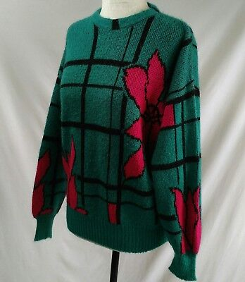 VTG 80s Womens Sweater Crew SZ M L Fuzzy Turquoise Hot Pink Flowers Grid Pattern