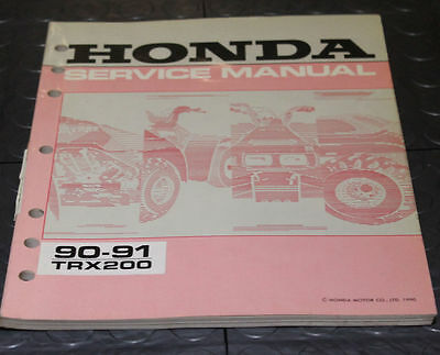 NOS OEM Honda Service Shop Manual NEW 90-91 TRX200 TRX 200