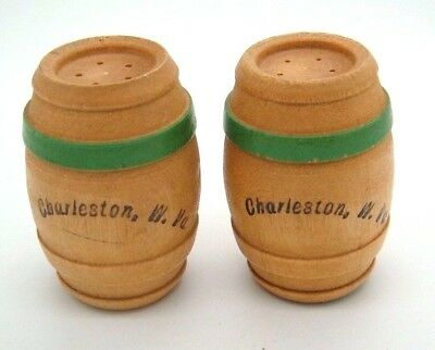 Vtg Charleston W. VA Salt and Pepper Shakers Wood Barrells