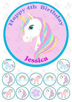 Unicorn Edible Cake topper Image PERSONALISED PLUS 12 cupcake toppers