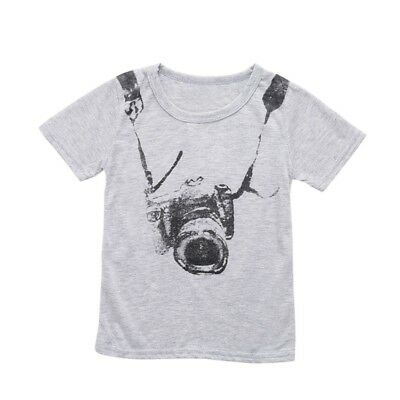 Kid's Pullover Short Sleeve Casual T-Shirt Tops Camera Print Little Boy Clothes