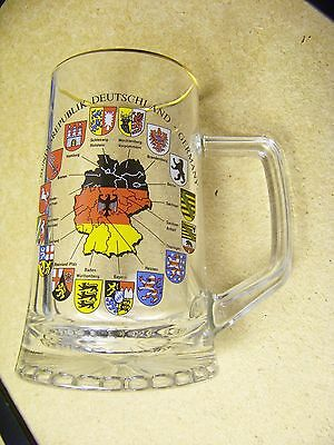 Germany glass mug stein gold trim handle map with regions & shield logos