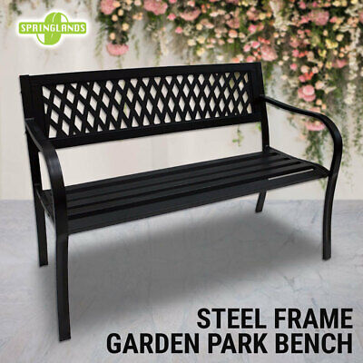Steel Park Bench Lattice Pattern Outdoor Garden Bench Patio Chair Seat