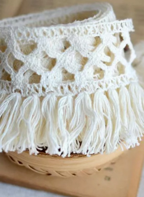 Beige Cream 6cm Trim Tassel Fringe DIY Cotton Lace Ribbon Price per 30cm