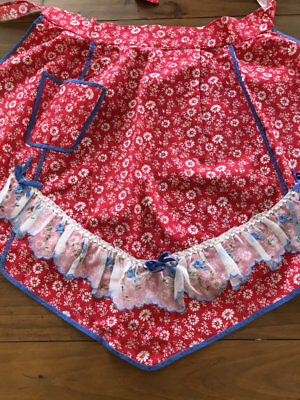 Vintage Floral Apron,red And White.