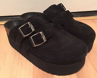 01f63bfb03 Sixtyseven Izzy Womens Black Suede Leather Clogs Slides Wedge Shoes 37 / 6  New