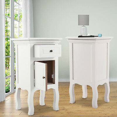 Pair of Nightstand Retro Wooden Bedside End Table with Drawer Door Storage White