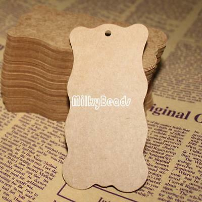 100pcs 50x100mm Jewelry Clothes Craft Price Tags Kraft Paper Label White/Khaki