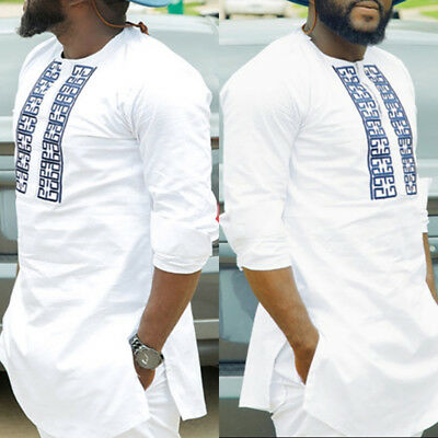 Men Dashiki Print African Long Sleeve Shirt Tribal Succinct Hippie Top Blouse