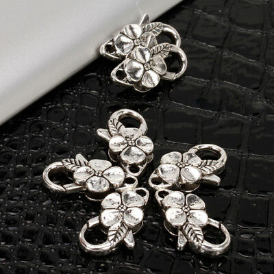 10pcs Silver Flower Lobster Clasps Claw Jewelry Fastener Hook Findings DIY