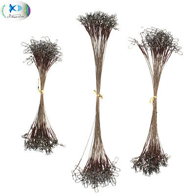 Stainless Steel Fishing Wire Leader Rigs Brown Trace Line 15/20/25cm 12KG/26LB