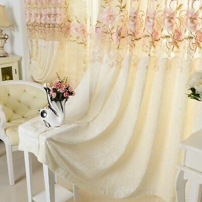 "Flower Embroidered Sheer Hollowed Velvet Cloth Curtains 63"" Window Drape 1 Piece"