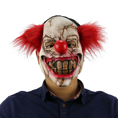 Full Face Latex Mask Scary Clown Halloween Costume Evil Creepy Adult Horror