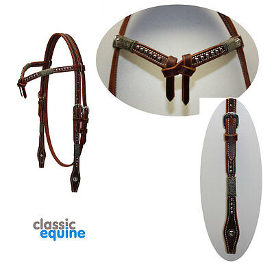 Western Headstall - Futurity Brow with Rawhide & Spots