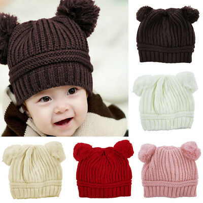 Children Kids Baby Warm Winter Knitted Beanie Real Double POM POM Bobble Hat Cap