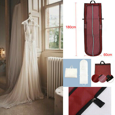 "180CM 70.9"" Long Dustproof Garment Wedding Dress Hanging Storage Carry Bag Cover"