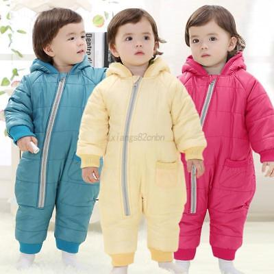Baby Boy Girl Kids Hooded Romper Jacket Jumpsuit Bodysuit Child Winter Warm Coat