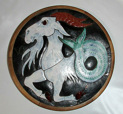Mosaic Ceramic Wall Art Sculpture Zodiac Symbol Capricorn Horoscope Pottery
