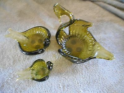 Vintage Hand Blown Green Glass Swan Candy Dishes - set of 3