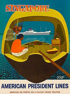 Singapore American President Southeast Asia Asian Travel Advertisement Poster