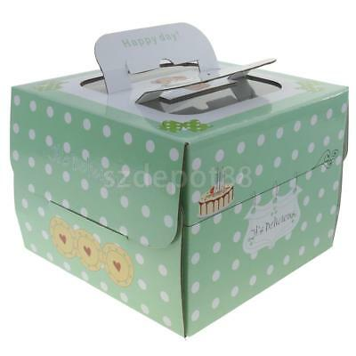 10x White Dots on Green Cake Cupcake Boxes Bakery Box with Window Handle 6in/8in