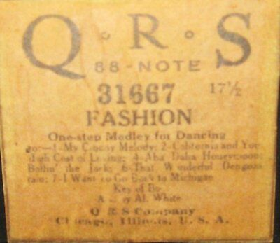 Qrs Fashion (Lit Bros.) One-Step Medley Of 7 Songs Original Old Piano Roll 0917