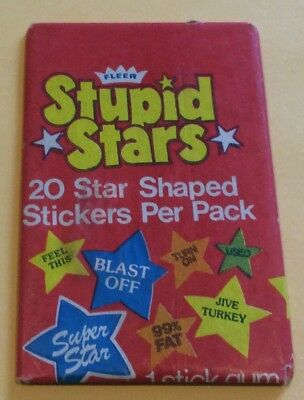 1970s Fleer Stupid Stars Stickers Wax Pack