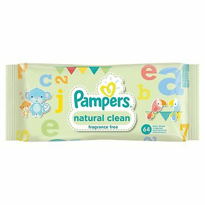 Pampers Natural Clean Baby Wipes, 64 Fragrance Free Wipes - Soft Gentle & Strong