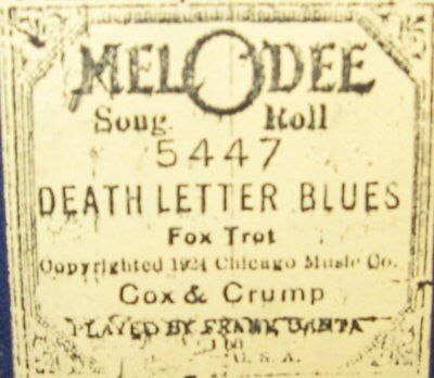 Death Letter Blues Schwimmer Recut Piano Roll 0917