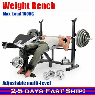 Weight Bench Multi-Station Press Leg Curl Home Weights Equipment Barbell Gym ME