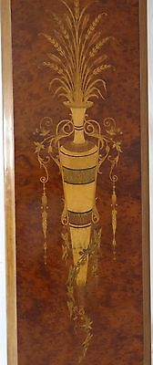 "24"" Tall  - Antique French Wood Marquetry Ornate Panel - Urn and Rustic Bouqet"