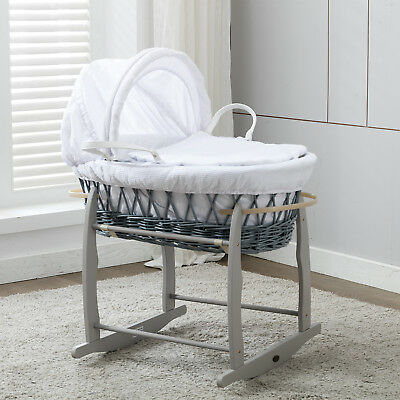 Full Set Grey Wicker Moses Basket With Mattress,Bedding sets,and Rocking Stand
