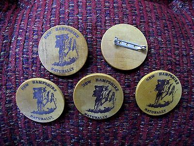"""5 Five """"old Man Of The Mountains"""" Wooden Pins, New Hampshire"""