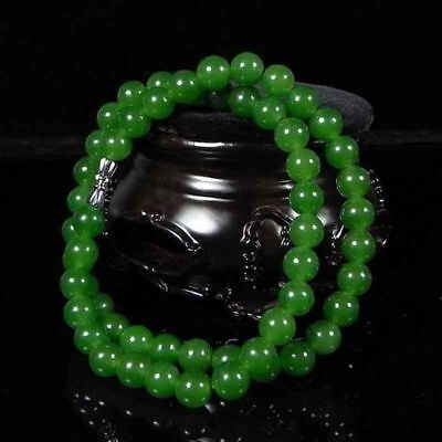 8mm Beautiful Chinese Handcraft Natural  Green Jade Knotted Necklaces 18''