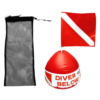 Black Diving Swimming Fin Shoes Mesh Bag + Scuba Flag with Inflatable Buoy
