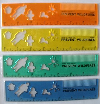 4 Smokey Bear Plastic Rulers--All Different
